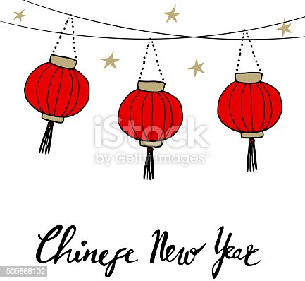 chinese new year card with hand drawn paper lanterns vector stock vector art more images of art 505666102 istock