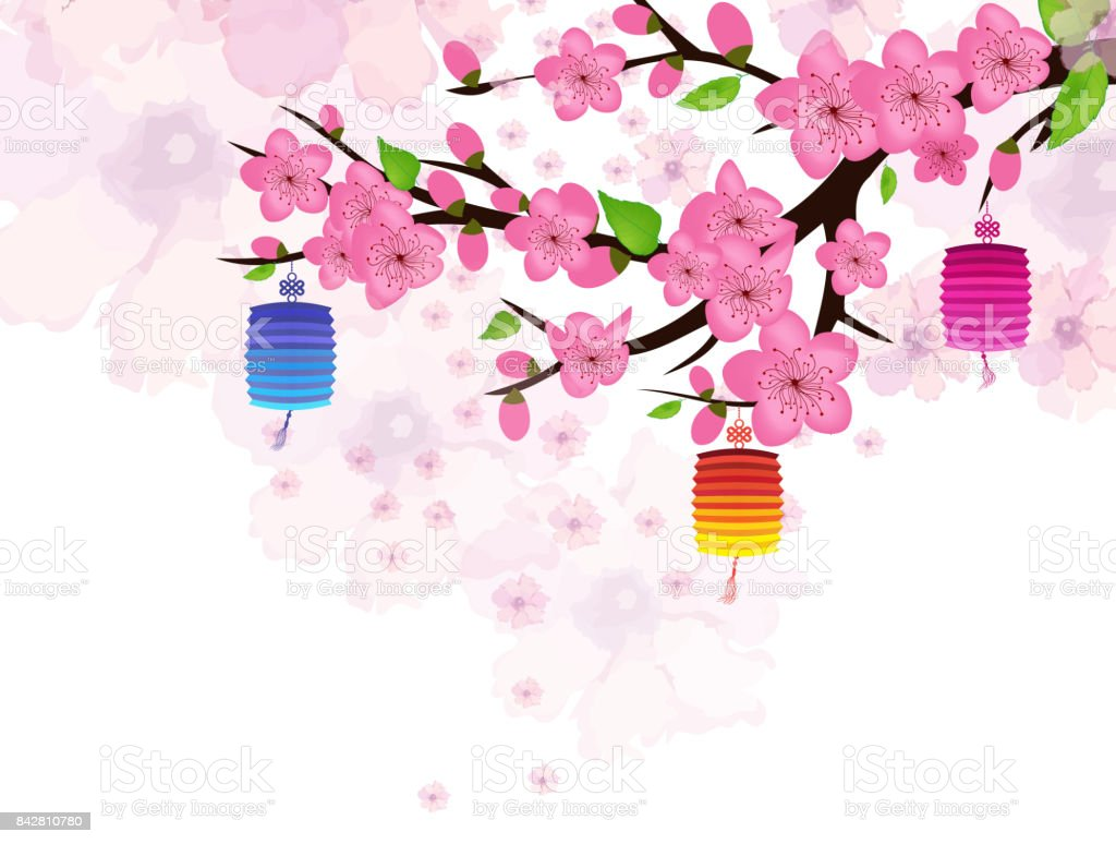 Chinese new year card with plum blossom and lantern stock vector art chinese new year card with plum blossom and lantern royalty free chinese new year card kristyandbryce Images