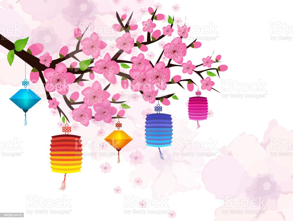 Chinese new year card with plum blossom and lantern stock vector art chinese new year card with plum blossom and lantern royalty free chinese new year kristyandbryce Images