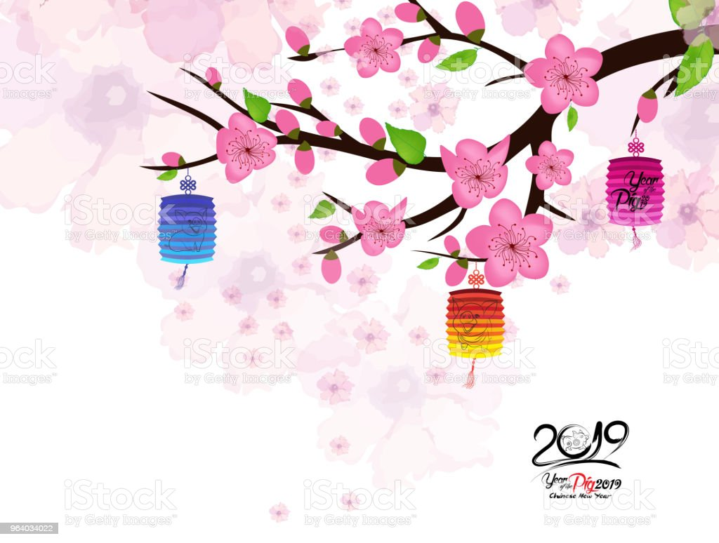 Chinese New Year Card With Plum Blossom And Lantern Stock Vector Art ...