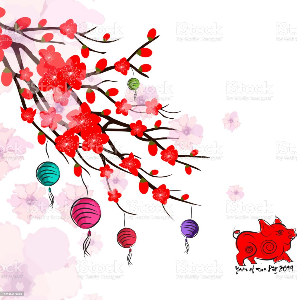 Chinese New Year card with plum blossom and lantern3 - Royalty-free 2019 stock vector