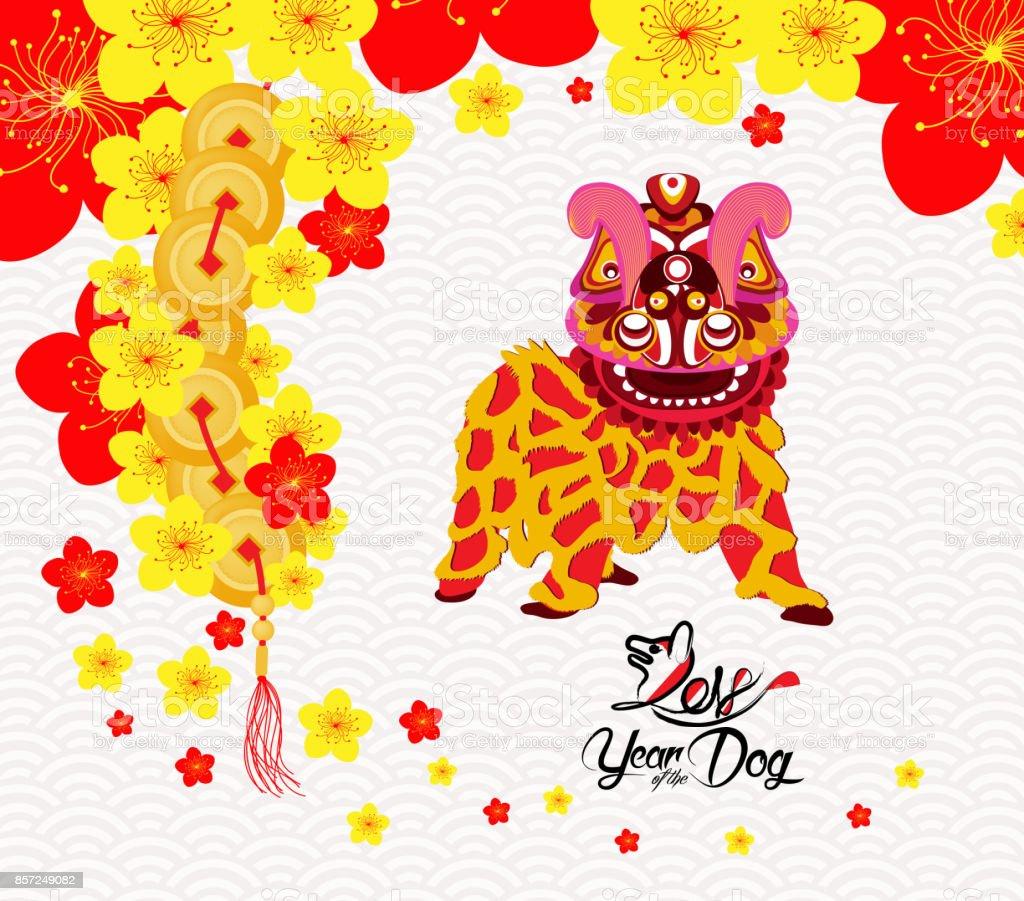 Chinese New Year Karte Mit Plum Blossom Und Löwen Tanz In ...