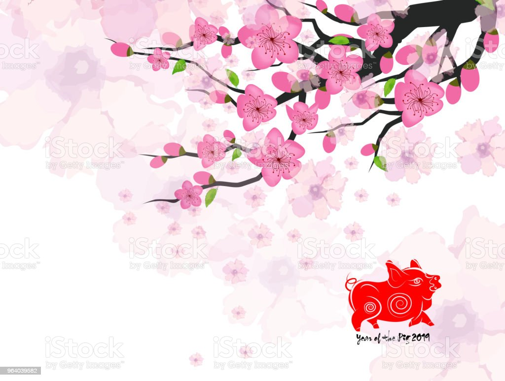 Chinese New Year Card With Plum Blossom Stock Vector Art & More ...