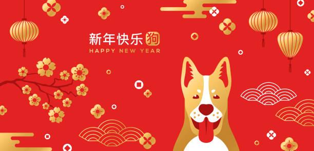 illustrations, cliparts, dessins animés et icônes de carte de nouvel an chinois avec des motifs traditionnels asiatiques et chien - nouvel an chinois