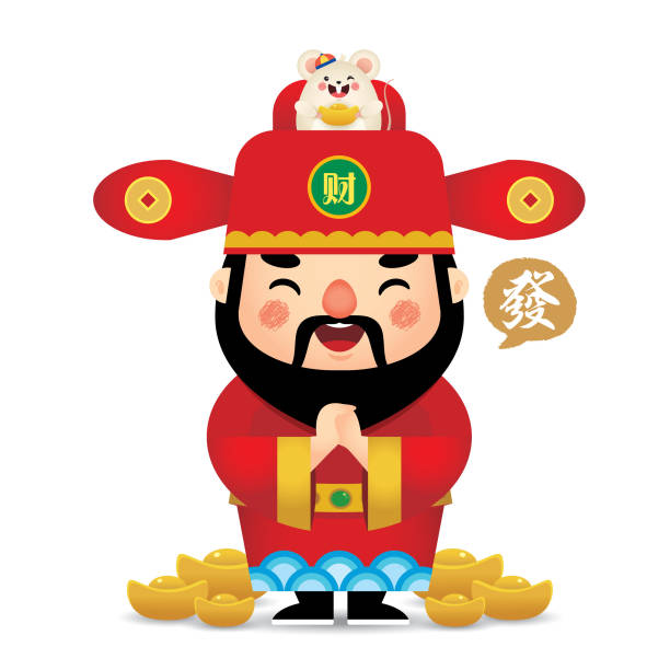 2020 chinese new year - cartoon chinese God of Wealth & mouse Cute cartoon chinese God of Wealth & white mouse holding gold ingot isolated on white background. 2020 chinese new year flat vector design. (translation: Huat, good luck in year of rat). god stock illustrations
