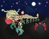 Vector illustration of a Chinese New Year Celebration with dragon dancers and children participating in the lantern festival.