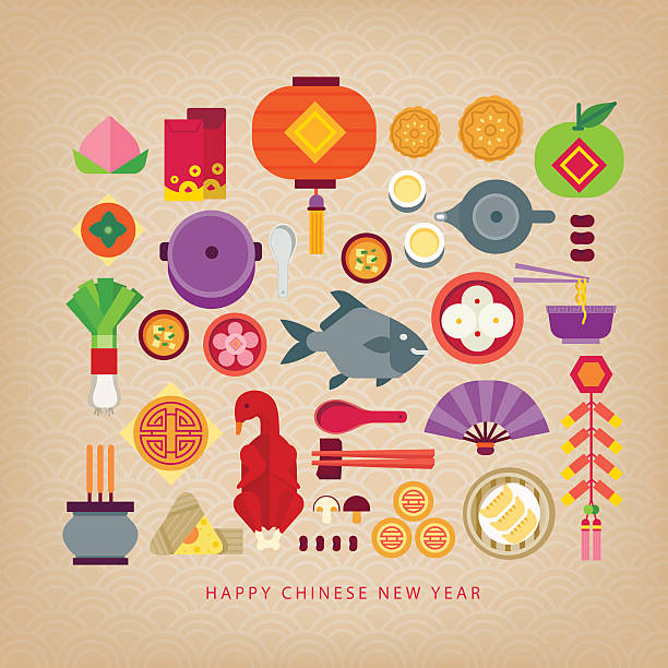 chinese new year celebration/foods of chinese new year - chinesisches essen stock-grafiken, -clipart, -cartoons und -symbole
