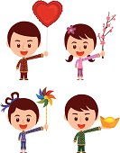A set of Asian Characters, can be use for Chinese New Year, Chinese Valentine day and any happy occasions.