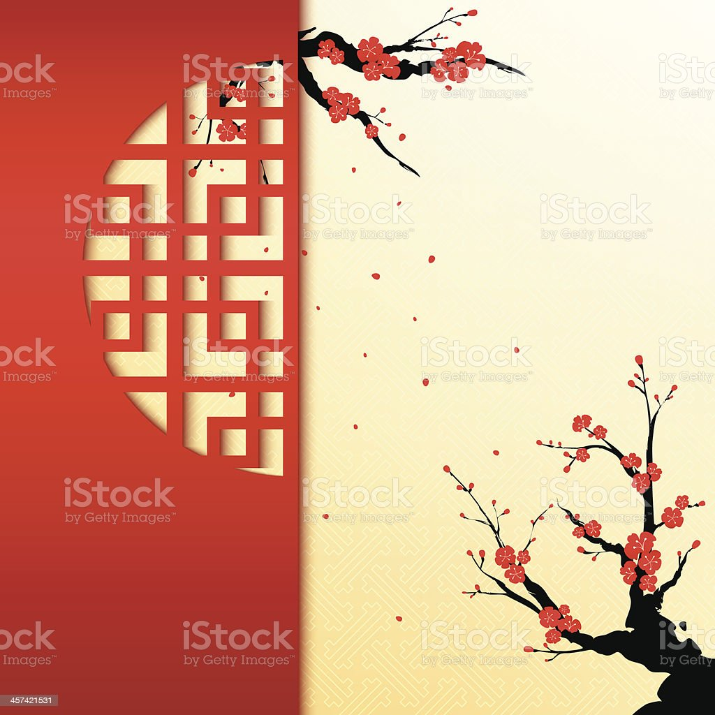 Chinese New Year Cherry Blossom Background vector art illustration