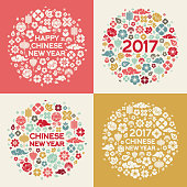 2017 Chinese New Year Concepts with Asian Signs and Symbols in Circle Shape. Vector illustration.