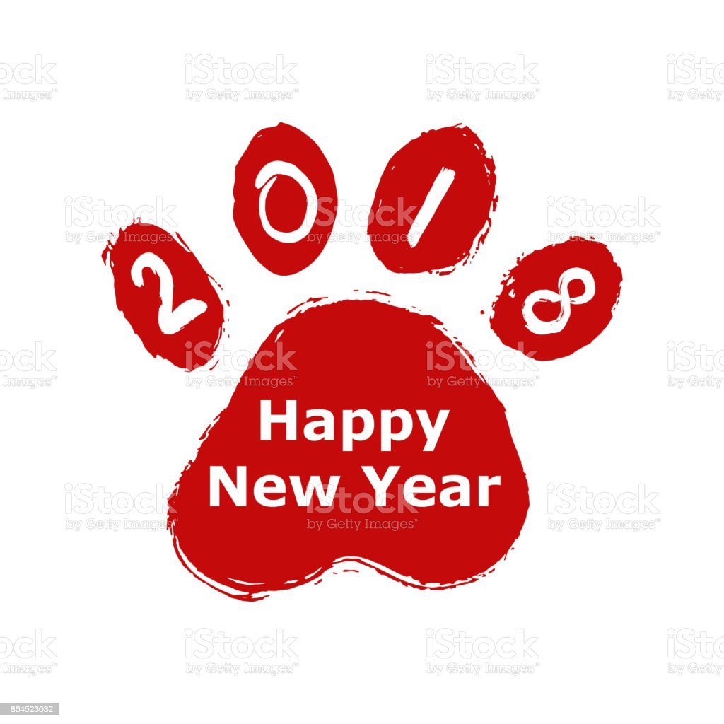 2018 chinese new year creative stamp design with print paws for 2018 chinese new year creative stamp design with print paws for greeting card chinese zodiac m4hsunfo