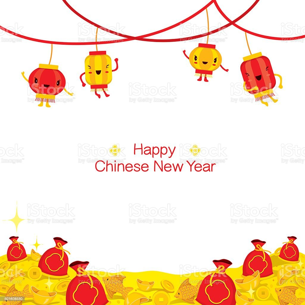 chinese new year cute cartoon decorate on frame royalty free chinese new year cute cartoon