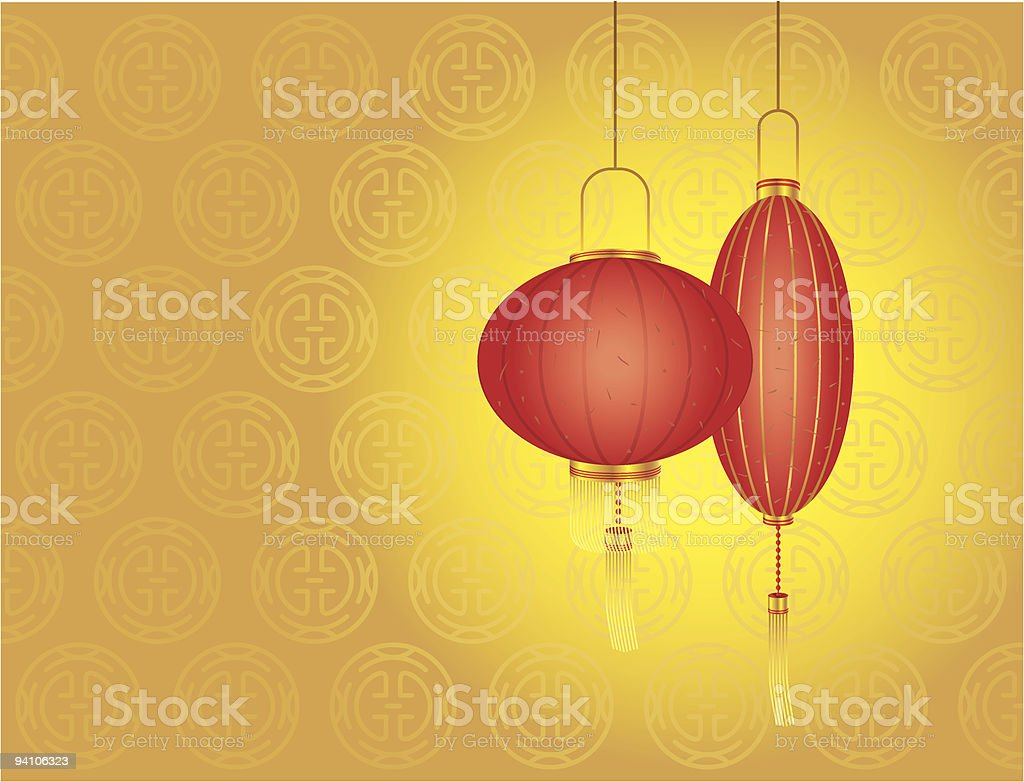 Chinese New Year day - Red lanterns vector art illustration