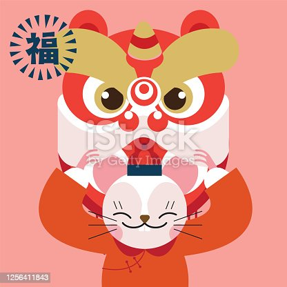 Chinese new year scroll/ Year of mouse 2020/ Translation: happy new year, bags of fortune, prosperity, infinity luck and fortune