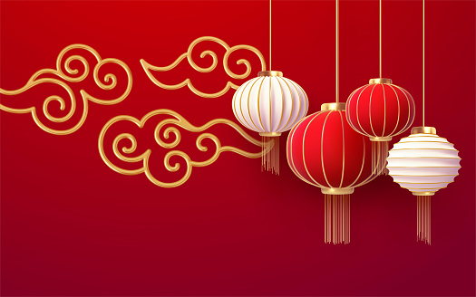 Chinese new year design template with and red lanterns andgolden cloud on the red background. Translation of hieroglyphs Happy New Year. Vector illustration