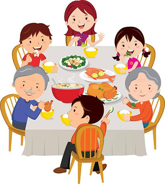 中国のお正月ディナー絶縁ます。ご家族でのディナーをお楽しみいただけます。 - 家族での夕食点のイラスト素材/クリップアート素材/マンガ素材/アイコン素材