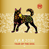 Dog is a Chinese zodiac sign for the Chinese New Year 2018, the Chinese wording means Year of the Dog related to the Chinese calendar