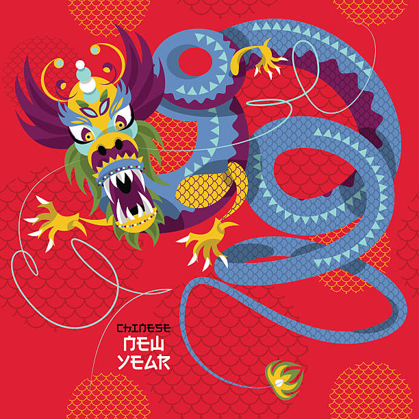chinese new year dragon dance seamless background pattern vector art illustration