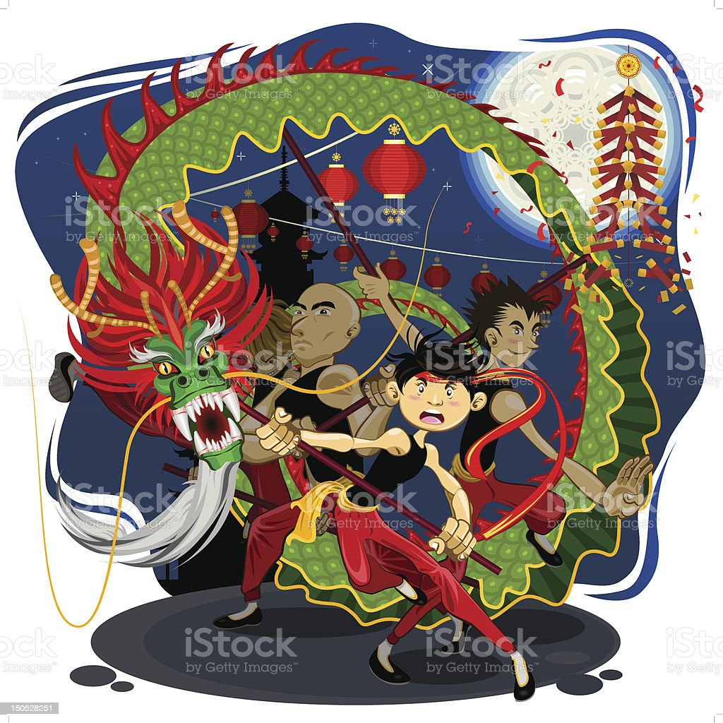 Chinese New Year Dragon Dance royalty-free stock vector art