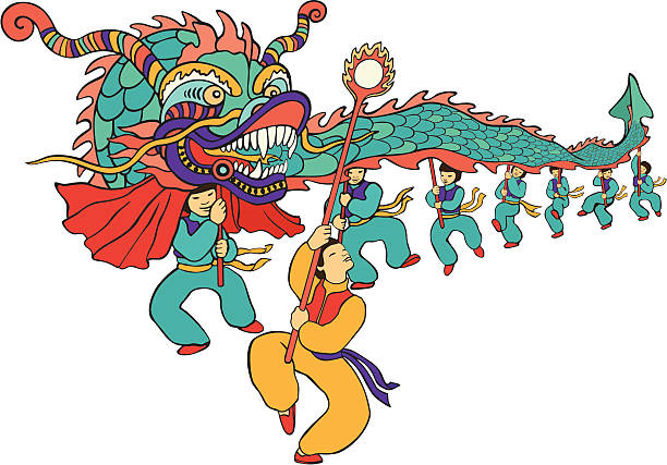 chinese new year dragon dancers vector art illustration