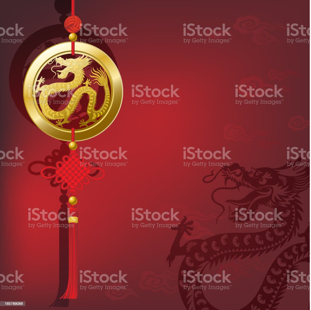 Chinese New Year Dragon Lucky Coin with Knot royalty-free stock vector art