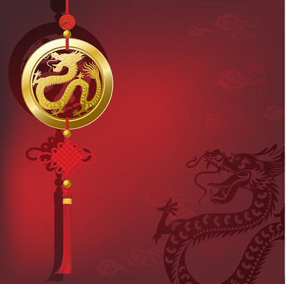 Chinese New Year Dragon Lucky Coin with Knot
