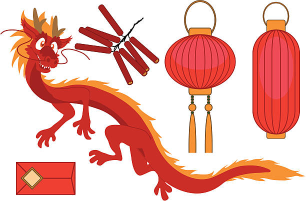 chinese new year elements vector art illustration