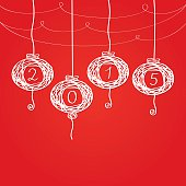 Chinese New Year lanterns on a red background