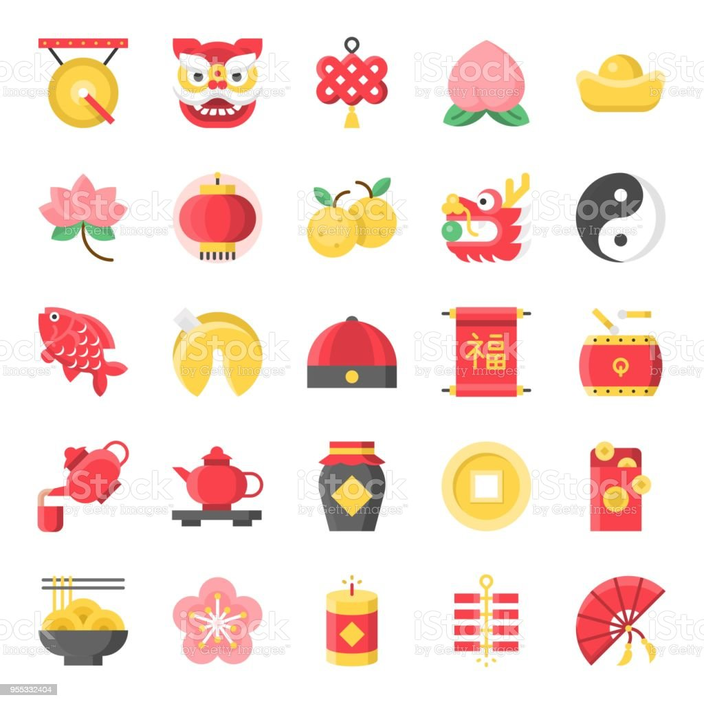 Chinese new year flat cute icon, 128 px on grid system set 1/2 royalty-free chinese new year flat cute icon 128 px on grid system set 12 stock illustration - download image now