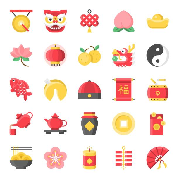 Chinese new year flat cute icon, 128 px on grid system set 1/2 vector art illustration