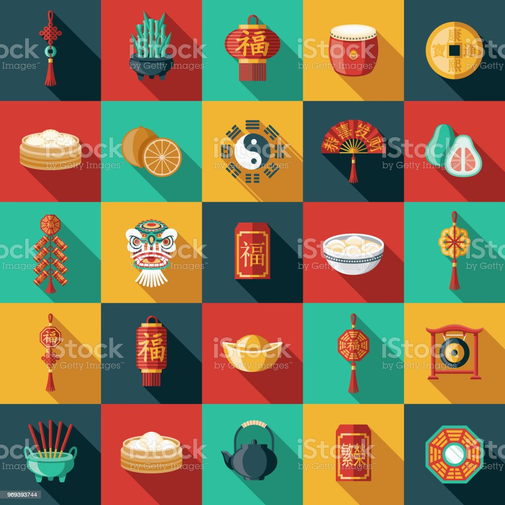 chinese new year flat design icon set stock vector art  u0026 more images of bamboo