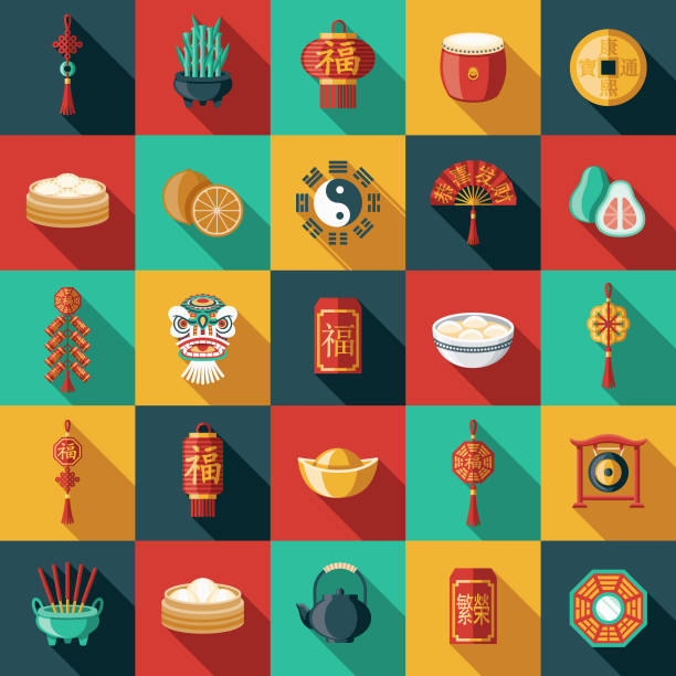chinese new year flat design icon set - chinese food stock illustrations, clip art, cartoons, & icons