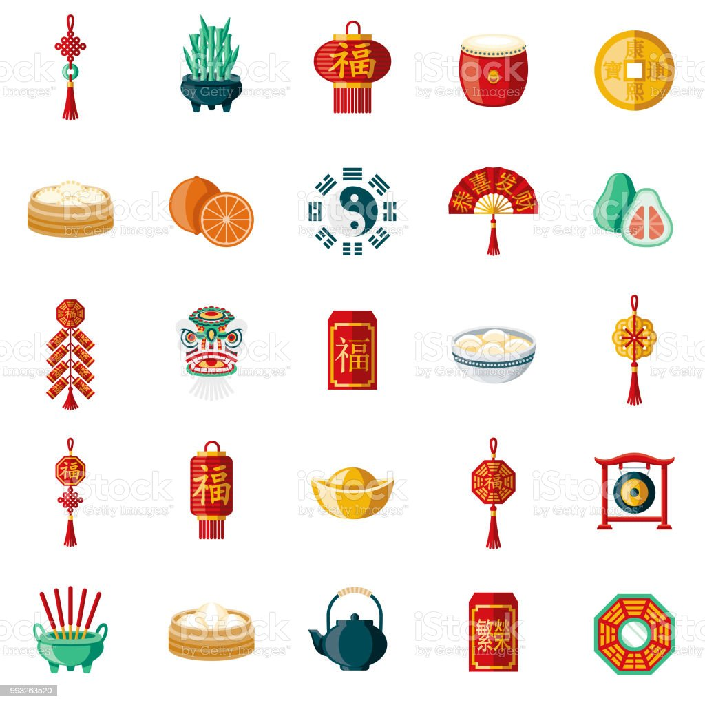 Chinese New Year Flat Design Icon Set royalty-free chinese new year flat design icon set stock vector art & more images of bamboo - plant