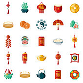 Chinese New Year Flat Design Icon Set