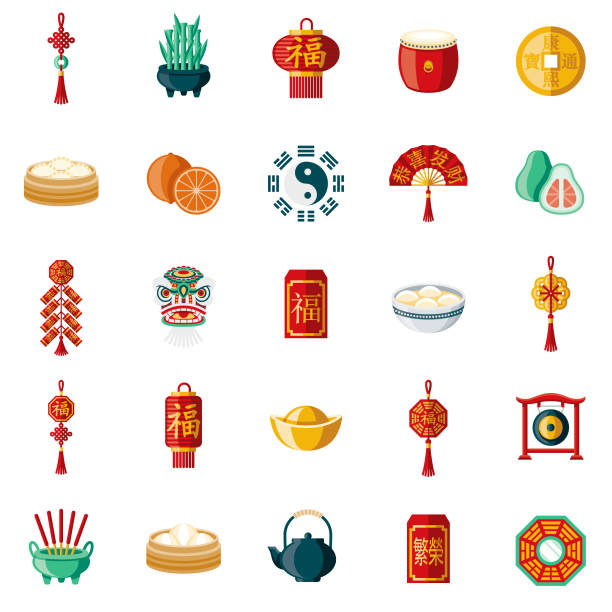 bildbanksillustrationer, clip art samt tecknat material och ikoner med kinesiska nyåret platt design ikonuppsättning - rislampa