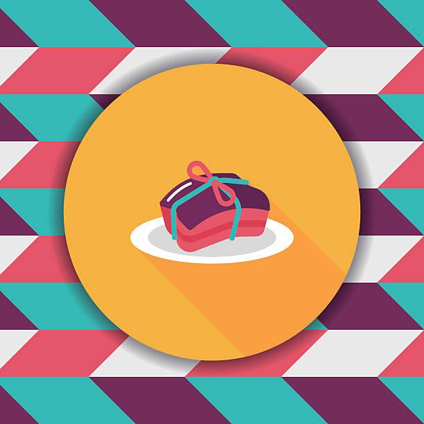 chinesisches neujahr flach icon mit langen schatten - schweinebauch stock-grafiken, -clipart, -cartoons und -symbole