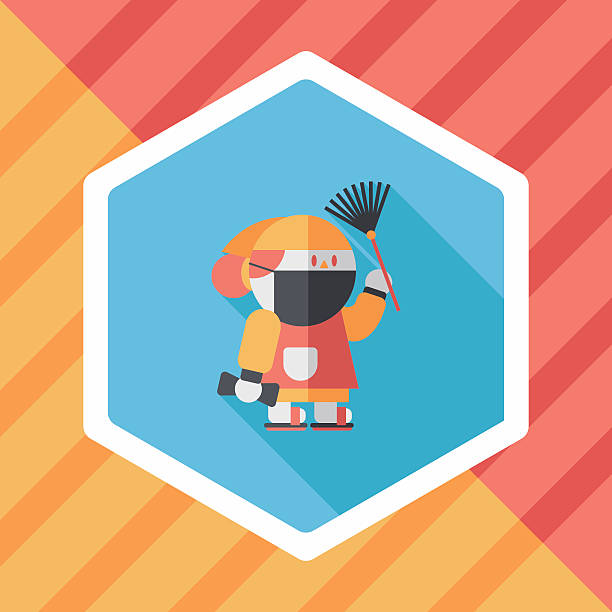 chinese new year flat icon with long shadoweps vector art illustration