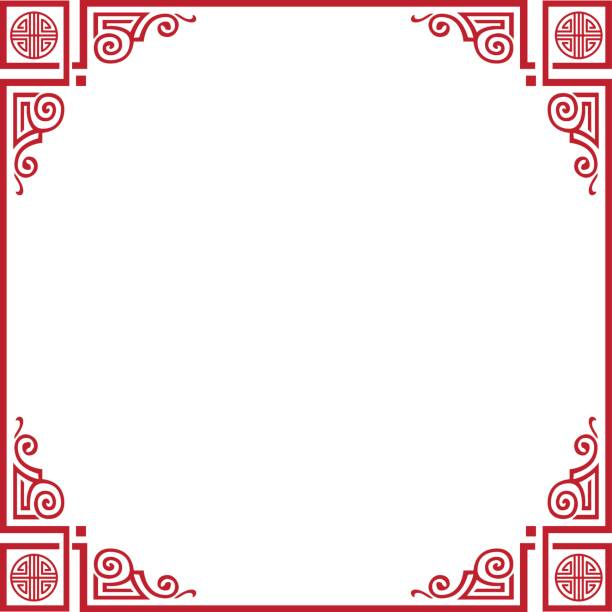 chinese new year frame - architecture borders stock illustrations