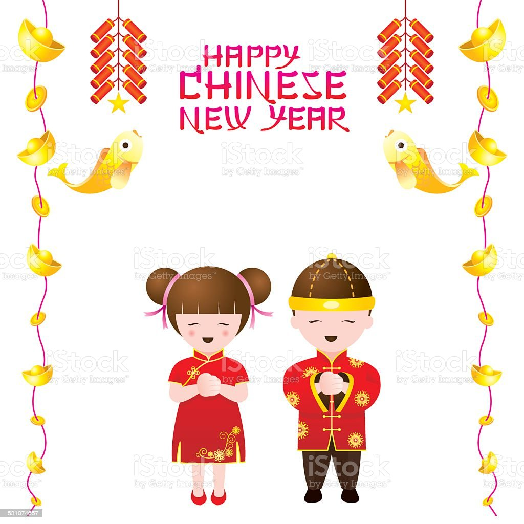 chinese new year frame with chinese kids royalty free stock vector art - Chinese New Year For Kids
