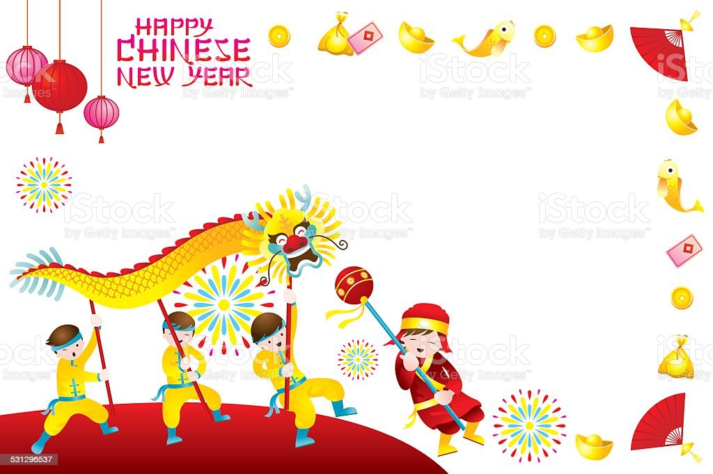 chinese new year frame with dragon dancing royalty free chinese new year frame with dragon
