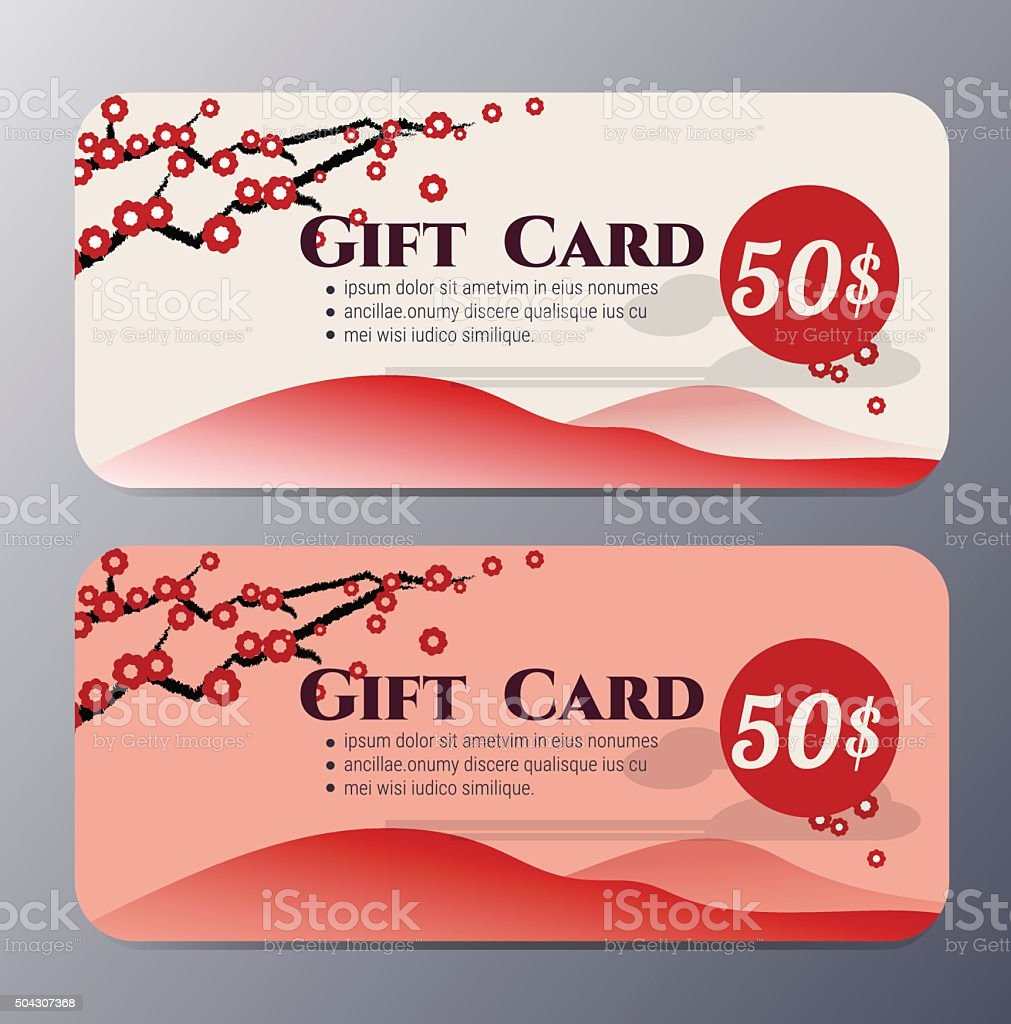 Chinese New Year Gift Voucher Template Vector Illustration Stock