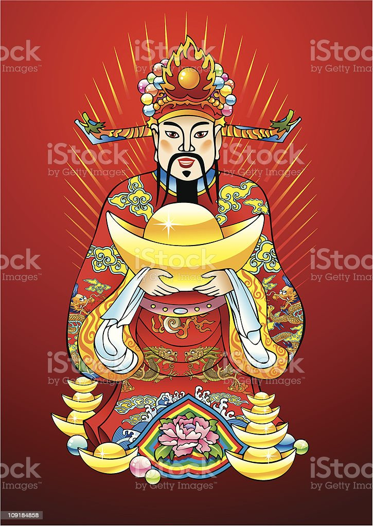 Chinese New year god of wealth royalty-free stock vector art
