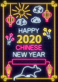 2020 Chinese New year greeting card in neon style. Neon sign, bright banner. Celebrate invitation of asian lunar new year. Party invitation design template. Vector illustration.
