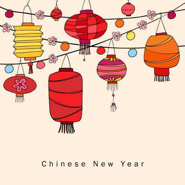 bildbanksillustrationer, clip art samt tecknat material och ikoner med kinesiska nyåret gratulationskort, inbjudan med sträng av handritad röda lyktor. asiatiska part dekoration. vektor illustration bakgrund - rislampa