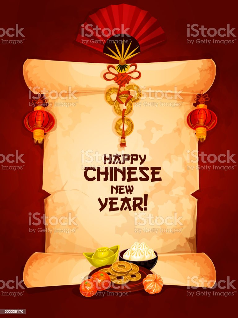 Chinese new year greeting card on paper scroll stock vector art asia china east asia korea astrology astrology sign chinese new year greeting kristyandbryce Images