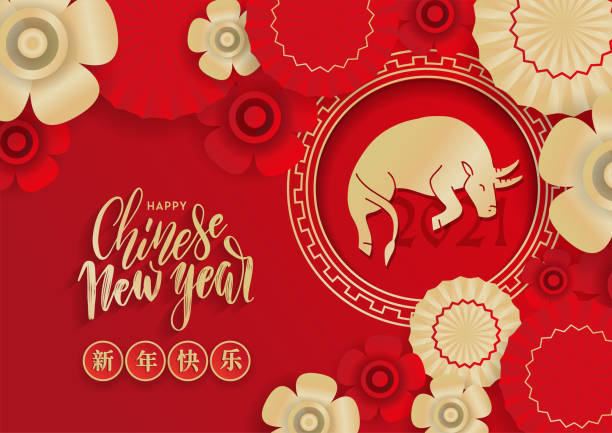 Chinese new year greeting card , red and gold paper cut ox character in circle frame, flower and asian paper umbrellas with craft papercut style on background. Chinese translation Happy new year Chinese new year greeting card , red and gold paper cut ox character in circle frame, flower and asian paper umbrellas with craft papercut style on background. Chinese translation Happy new year. chinese currency stock illustrations