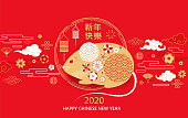 2020 Chinese New Year greeting elegant card in red and gold colors for banners, flyers, invitations, congratulations, posters with flower and asian elements.Chinese translation: Happy new year.Vector