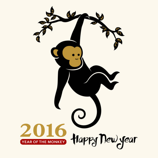 chinese new year greeting card - monkey stock illustrations