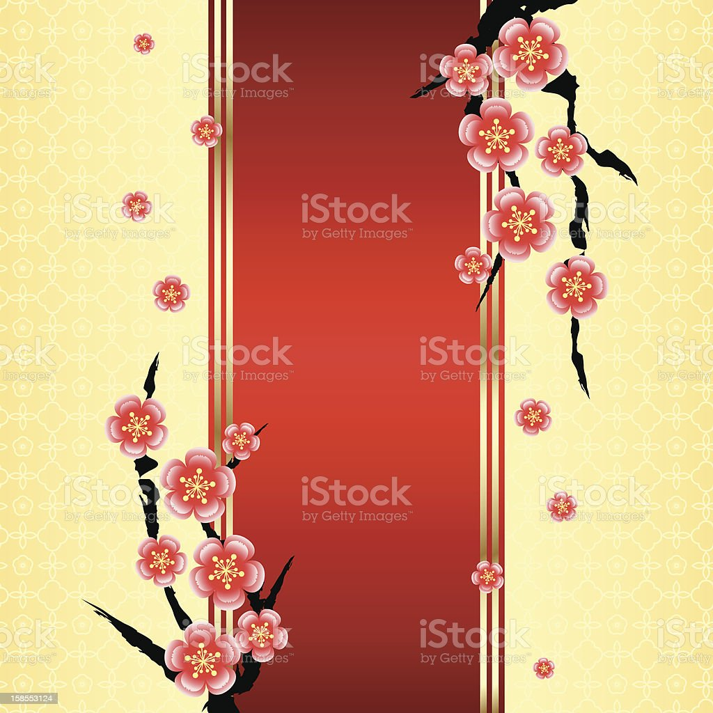 Chinese New Year Greeting Card With Cherry Blossom Stock Vector Art