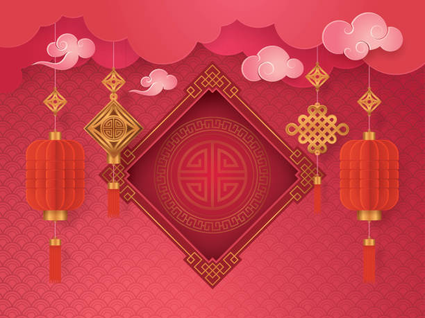 chinese new year greeting card with frame border asian art style stock vector art more images of abstract 909927506 istock